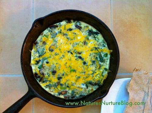 dandelion greens and flower buds baked omelet