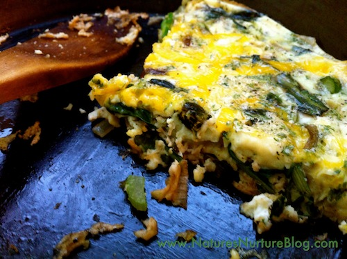 dandelion greens and flower buds baked omelet recipe