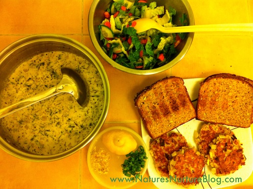 dandelion blossom burgers and cream of dandelion soup
