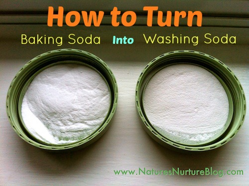 Learn how to turn baking soda into washing soda for use in all sorts of homemade green cleaning recipes!