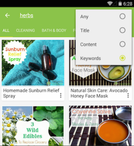 Natures Nurture mobile app