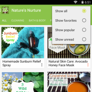 Nature's Nurture mobile app