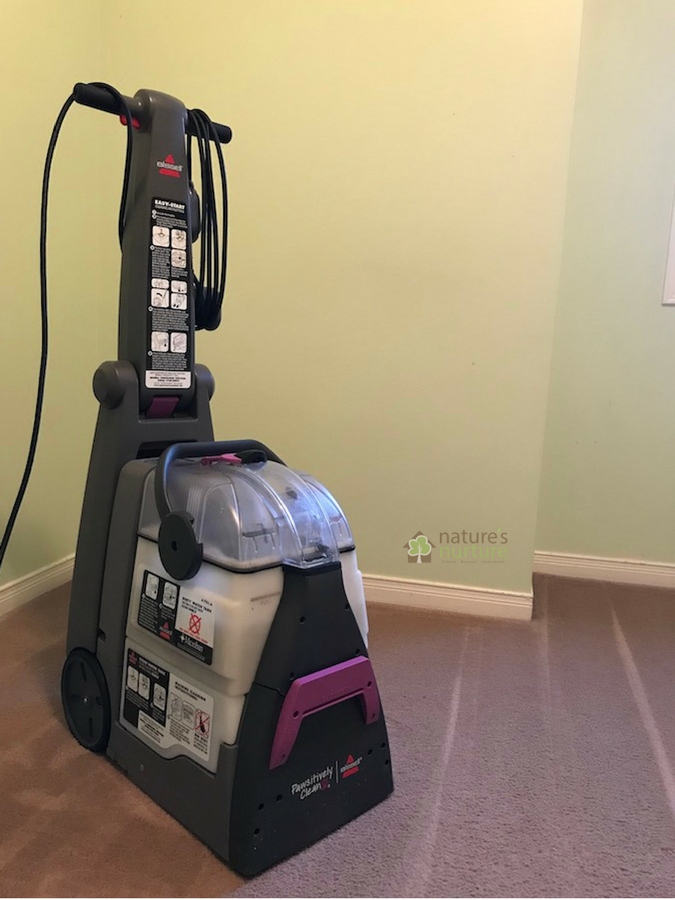 Tackle stubborn carpet stains with this non-toxic homemade carpet cleaner solution for your machine, and make a simple spray for spot cleaning tough stains!