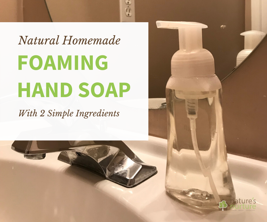 See how quick and easy it is to whip up a batch of this homemade foaming hand soap with just 2 simple, natural ingredients!